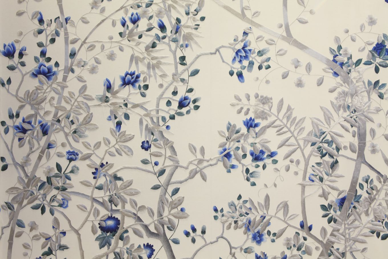 Paradiso in Custom Embroidered Sapphire colours on White Silk