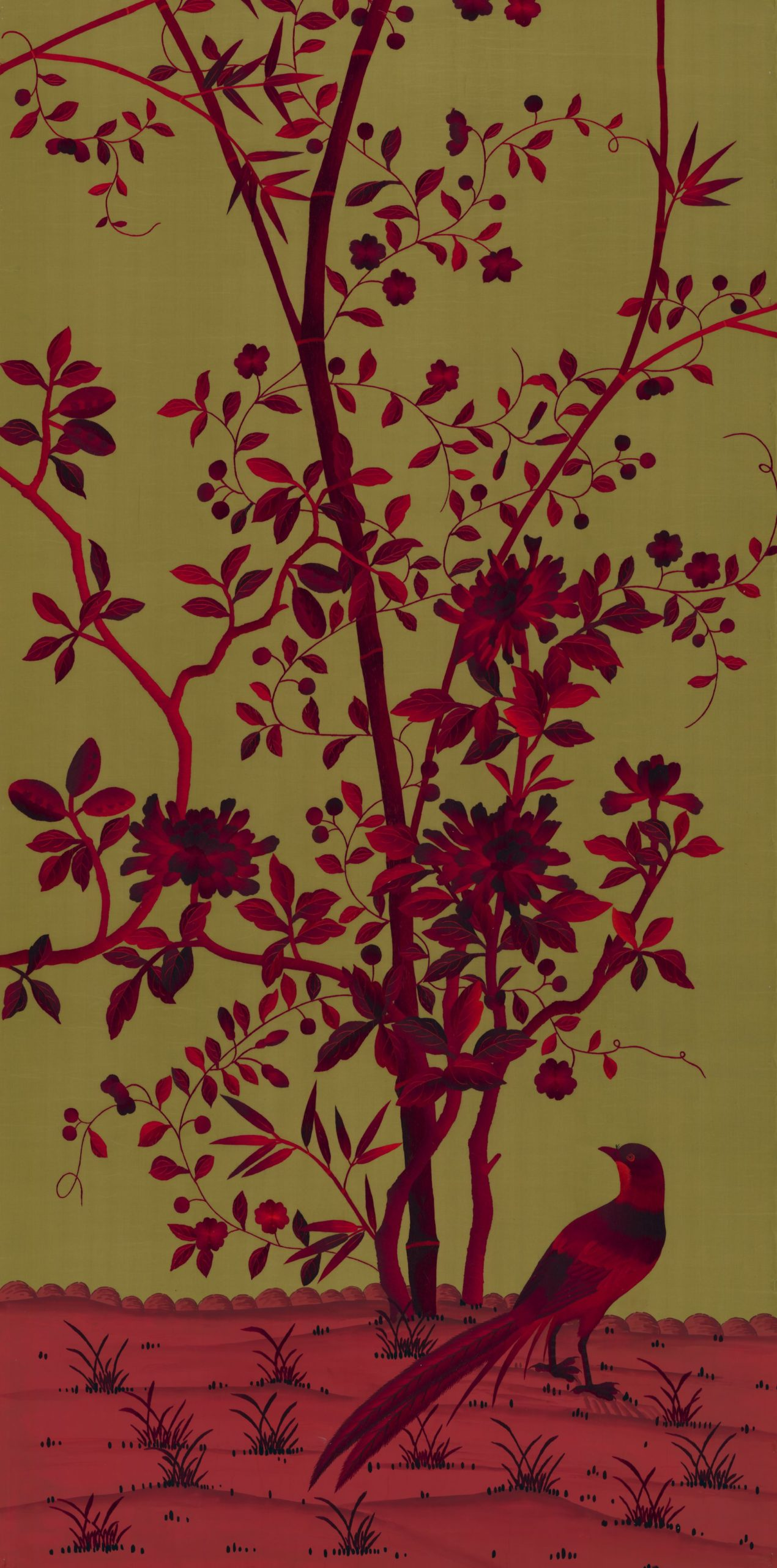 Paradiso in Embroidered Blood Olive colours on Olive Silk