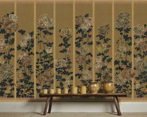 Kiku in Edo colours on Bronze Silk