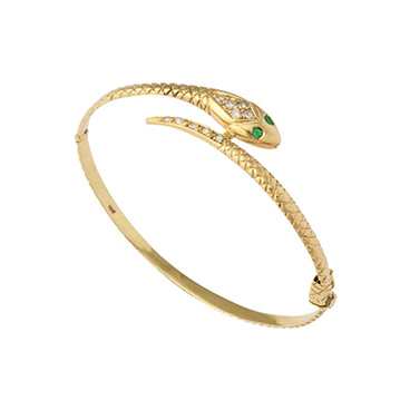 Antique 18 kt Gold Snake Bracelet with Emerald Eyes and Diamond Head