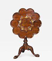 Brass and Mother of Pearl Inlaid Tripod Table Thumbnail