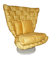 Cosulich_1970s Marzio Cecchi Italian Vintage Iconic Gold Yellow Silk Swivel Armchair Thumbnail