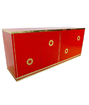 Cosulich_Italian 1970s Chinese Red Lacquered and Brass Asian Style Sideboard.Credenza Thumbnail