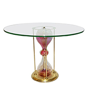 Cosulich_Seguso Vetri d Arte, 1960s Italian Brass and Pink Glass Round SideEnd Table Thumbnail