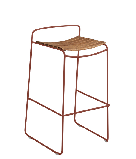 Fermob USA 2 SURPRISING_TABOURET_DE_BAR_TECK_OCRE_ROUGE