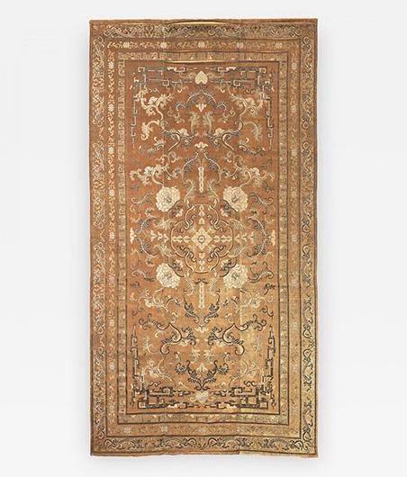 Imperial Cut Silk Velvet and Metal Thread Kang Carpet