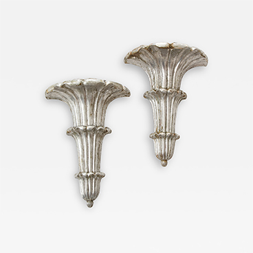 Gallery Walls 7_Pair of Art Deco Venetian Carved Silver Leafed Wall Brackets