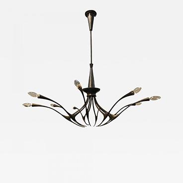 Milord Antiques 12_Oscar Torlasco Modernist patinated brass chandelier