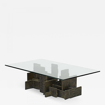 Milord Antiques 1_Brutalist style sculped bronze coffee table by Paul Evans