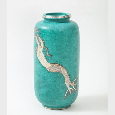 Milord Antiques 5_Green glazed ceramic and silver Argenta vase by Wilhelm Kage for Gustavsberg