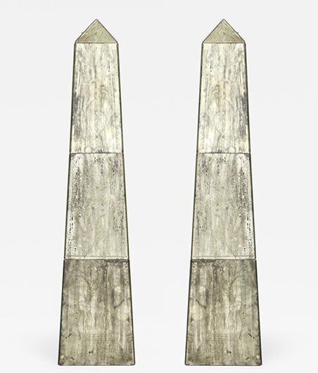 Pair of Tall Mirrored Obelisks with Etched Floral Design_Two