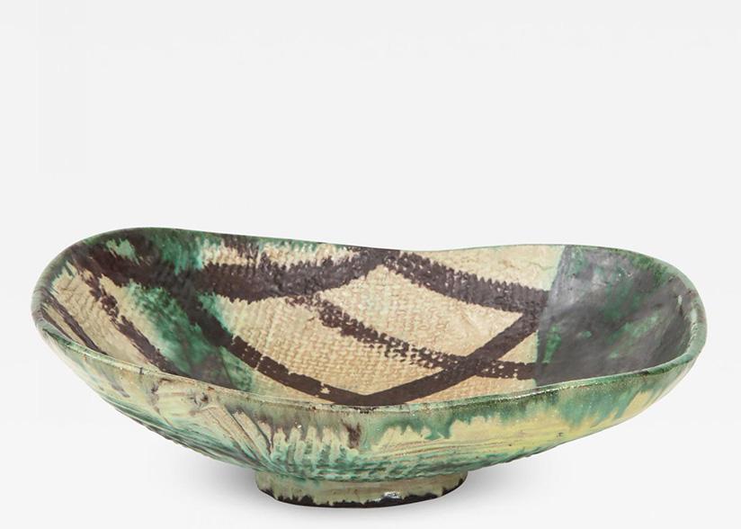 Allan-Ebeling Danish Mid-Century Oblong Ceramic Bowl by Allan Ebeling
