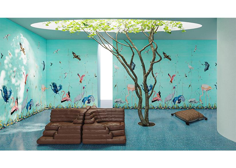 Birds Blue Scenic Wallpaper_Rendering by Charlap Hyman Herrero_Webiste Image