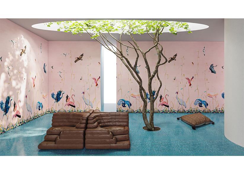 Birds Pink Scenic Wallpaper_Rendering by Charlap Hyman Herrero_Website Image