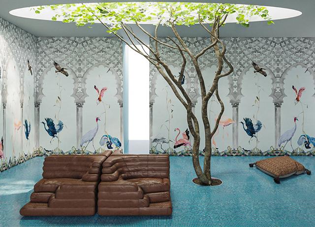 Birds Stone Scenic Wallpaper_Rendering by Charlap Hyman Herrero Thumbnail
