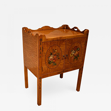 Satinwood Bedside Decorated Bedside Table_Wood and Hogan_Sample 200 Lex