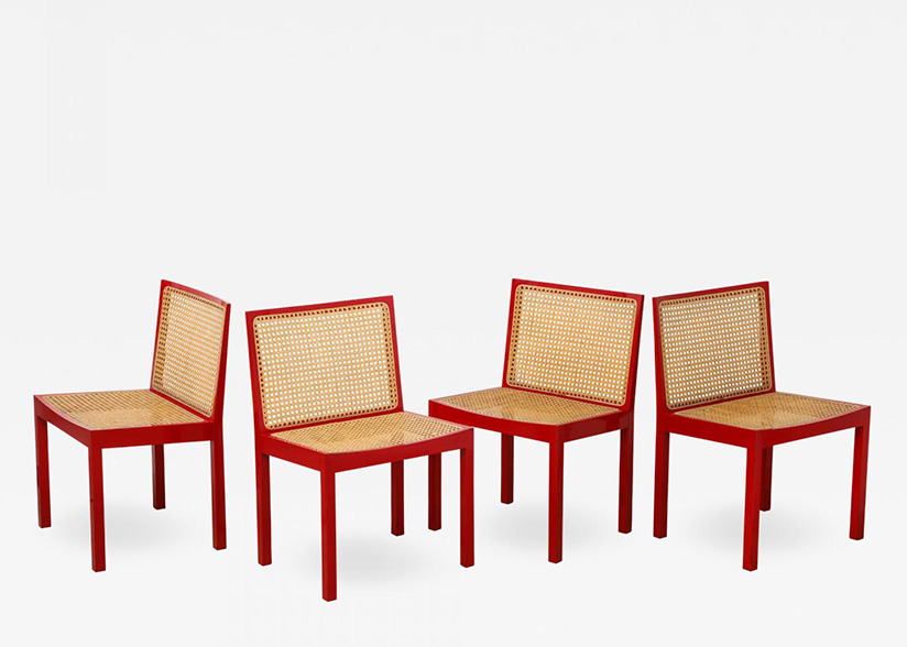 Set of Four Red Lacquered Bankshuhl Chairs by Willy Guhl for Stendig