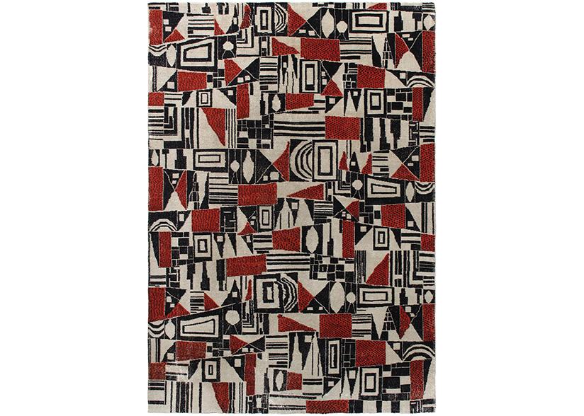 Vintage Cubist Style Rug