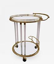 Orsenigo Lucite and Brass Bar Cart or Trolley