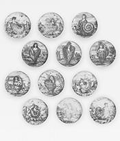 Piero Fornasetti Rare Complete Set of 12 Le Oceanidi Plates