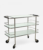Three Tiered Chrome Glass and Leather Bar Cart