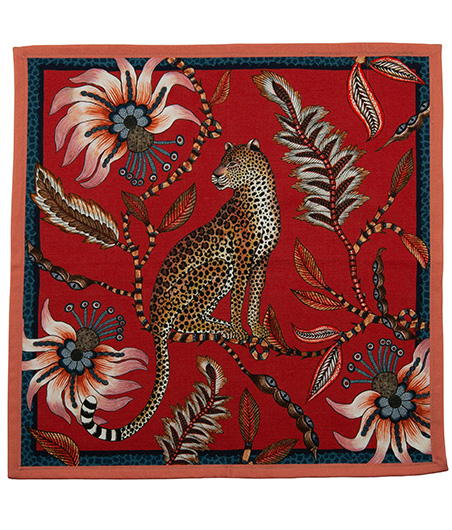 Ngala Trading Company_Leopard Napkins Royal Red