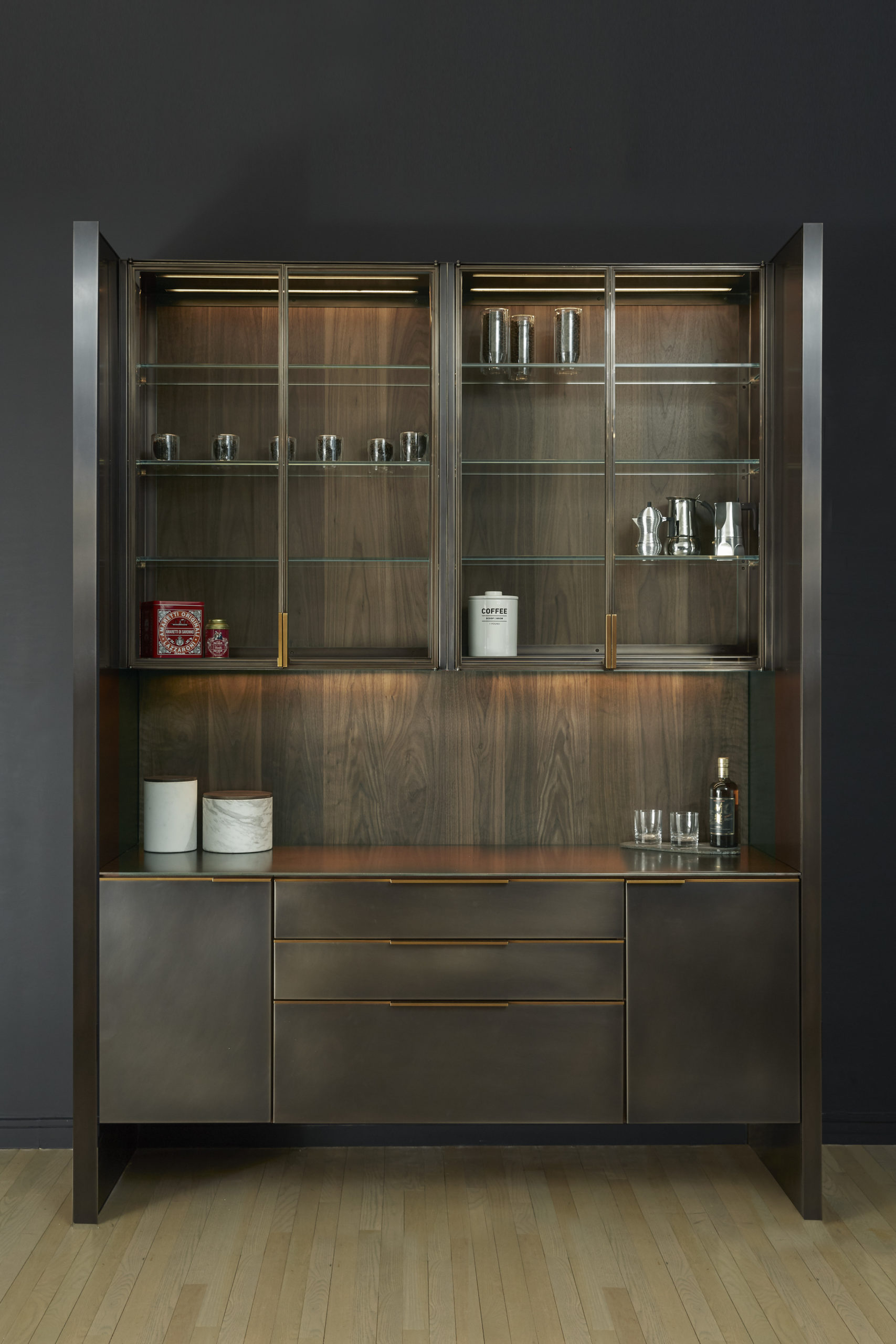 amuneal_products_WNWN_NYDC_2Blackened-Stainless-Bar-FRONT-Styled-With-Whiskey-and-cannisters_nycshowroom-scaled-1