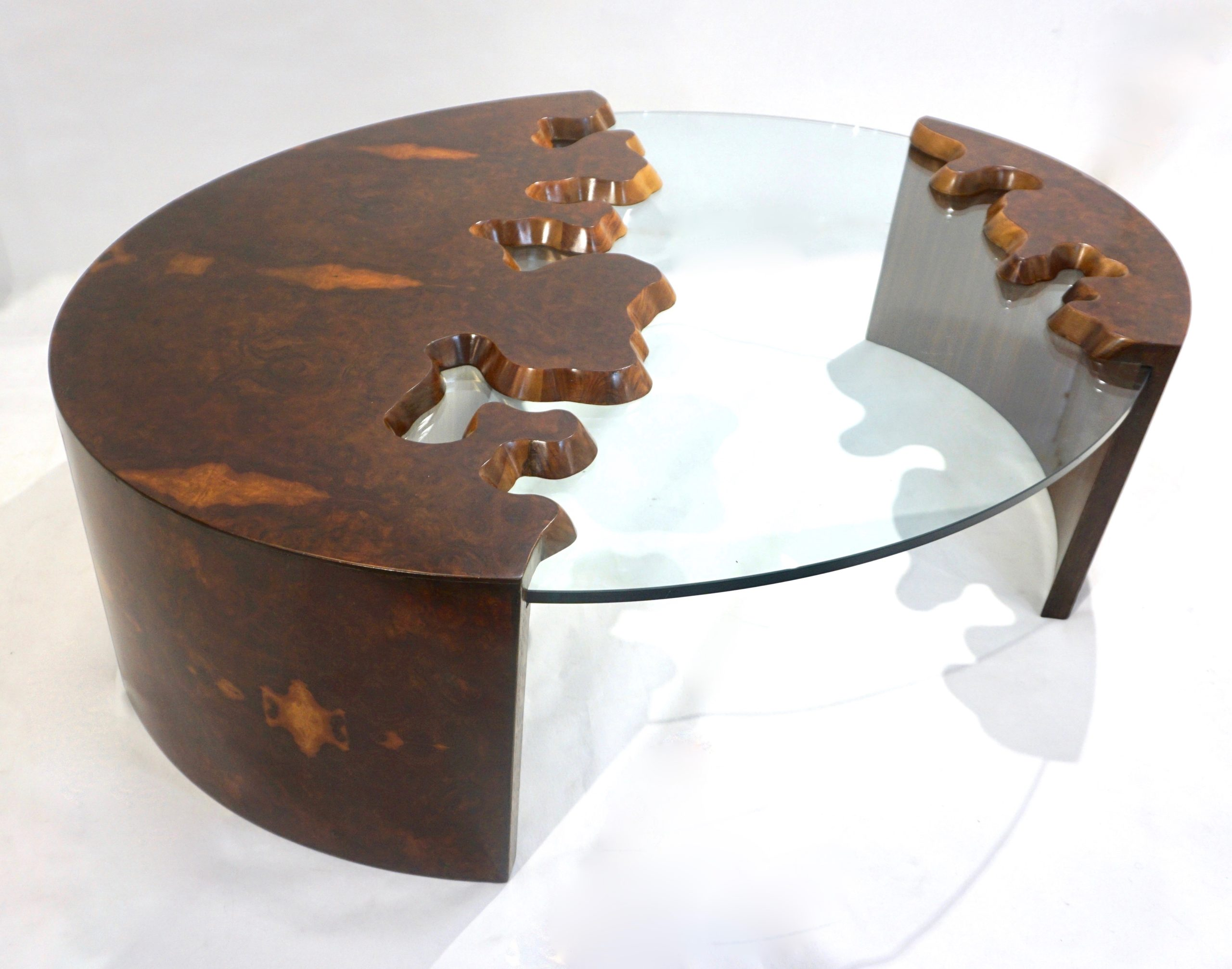 cosulich_interiors_and_antiques_products_new_york_design_Bespoke_1980_Italian_Organic_Walnut_Veneer_Glass_Oval_Coffee_Table_top_side-scaled-1