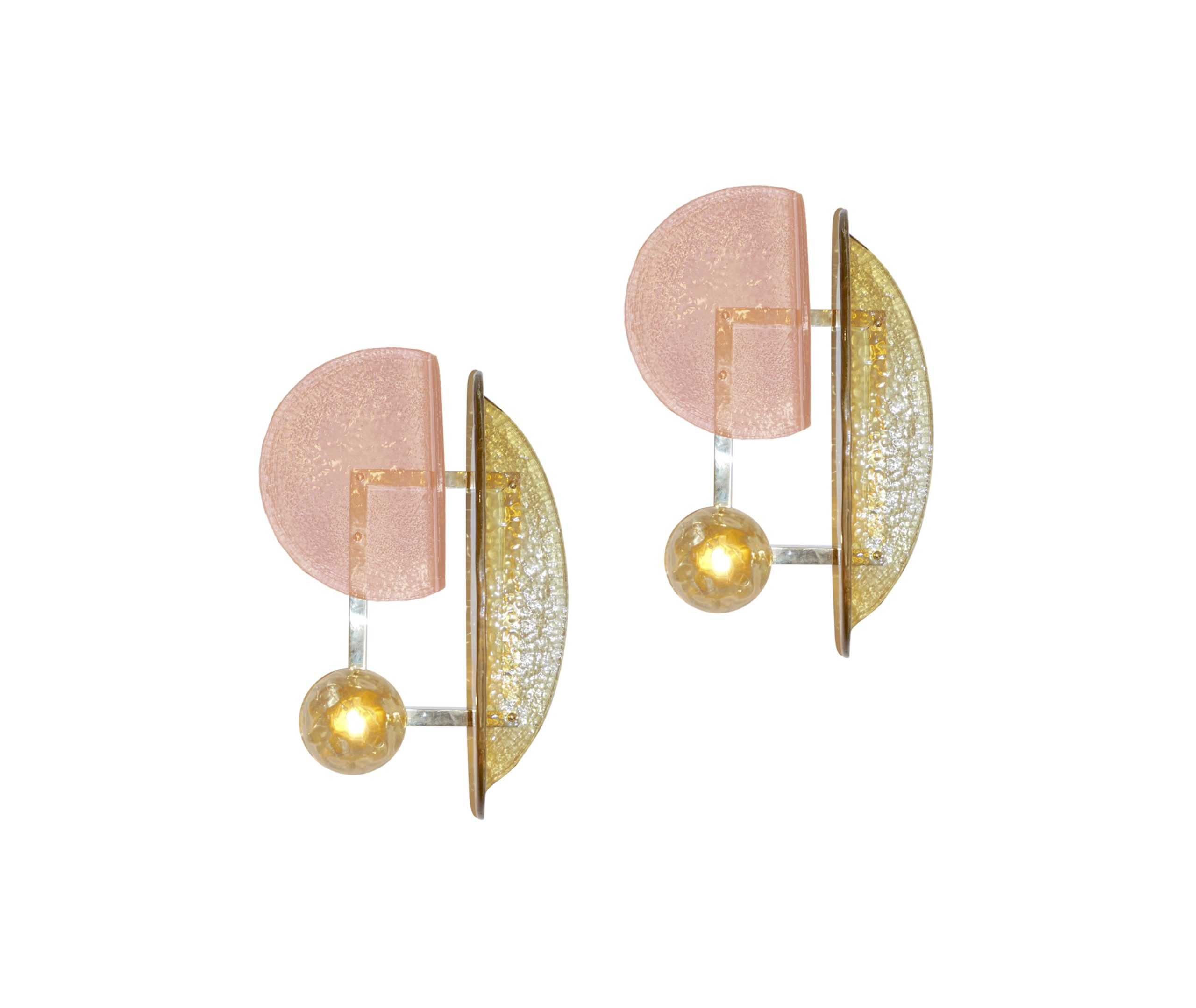 cosulich_interiors_and_antiques_products_new_york_design_contemporary_italian_pair_pink_amber_murano_glass_gold_brass_sconces-scaled-1