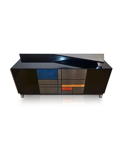 main_cosulich_interiors_and_antiques_products_new_york_design_1976_Italian_Black_Lacquer_Silver_Grey_Blue_Mondrian_Decor_Bar_Sideboard_image