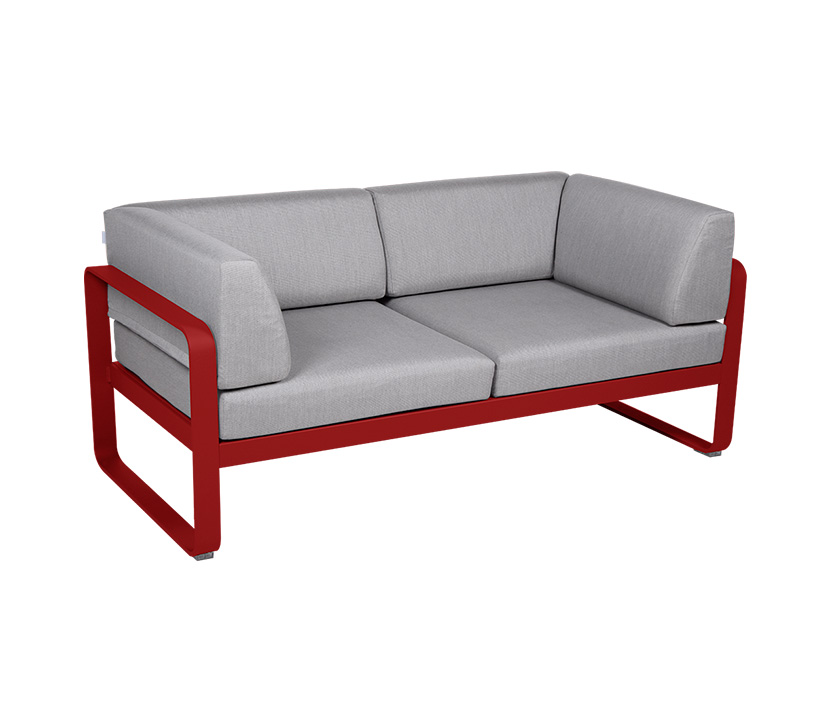 Fermob_Bellevie Canape Club 2 SSeater Flannel Grey_Gallery Image 7_Poppy Red