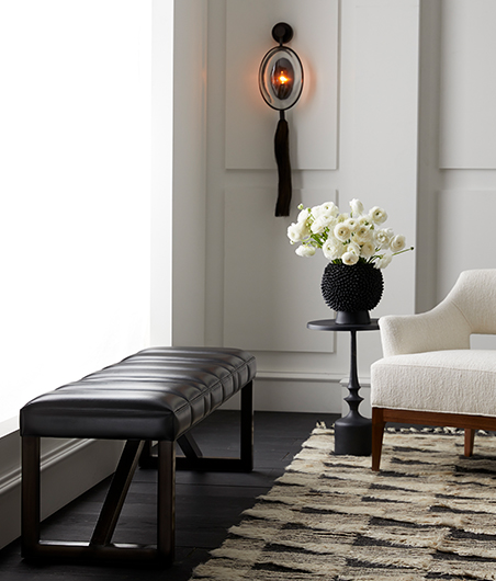 Arteriors_Greenwald Bench and Aramis Sconce
