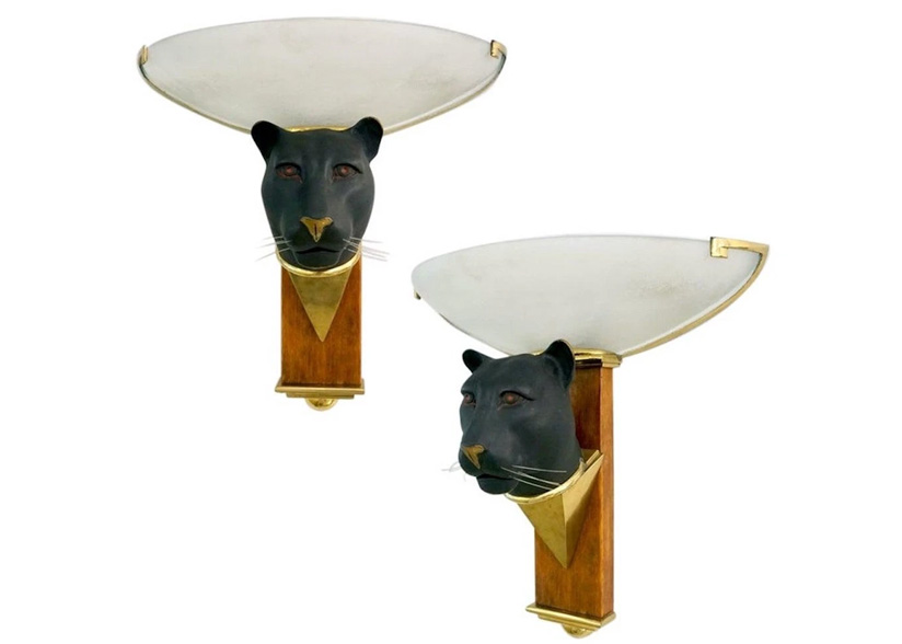 Cosulich_Art Deco Black Panther Wall Lights