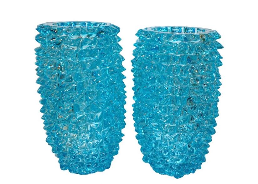 Cosulich_Blue Rostrato Murano Glass Vases