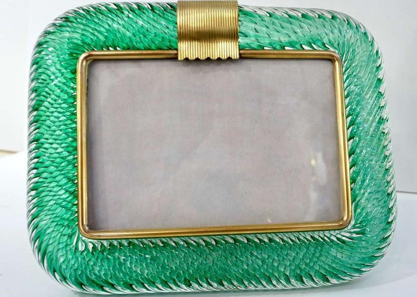 Cosulich_Emerald Green Murano Glass and Brass Photo Frame